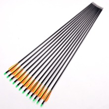 12Pcs lot Fiberglass Arrow 80cm Archery Hunting Nock Proof Fiberglass Arrow Steel Point 30 80lbs For
