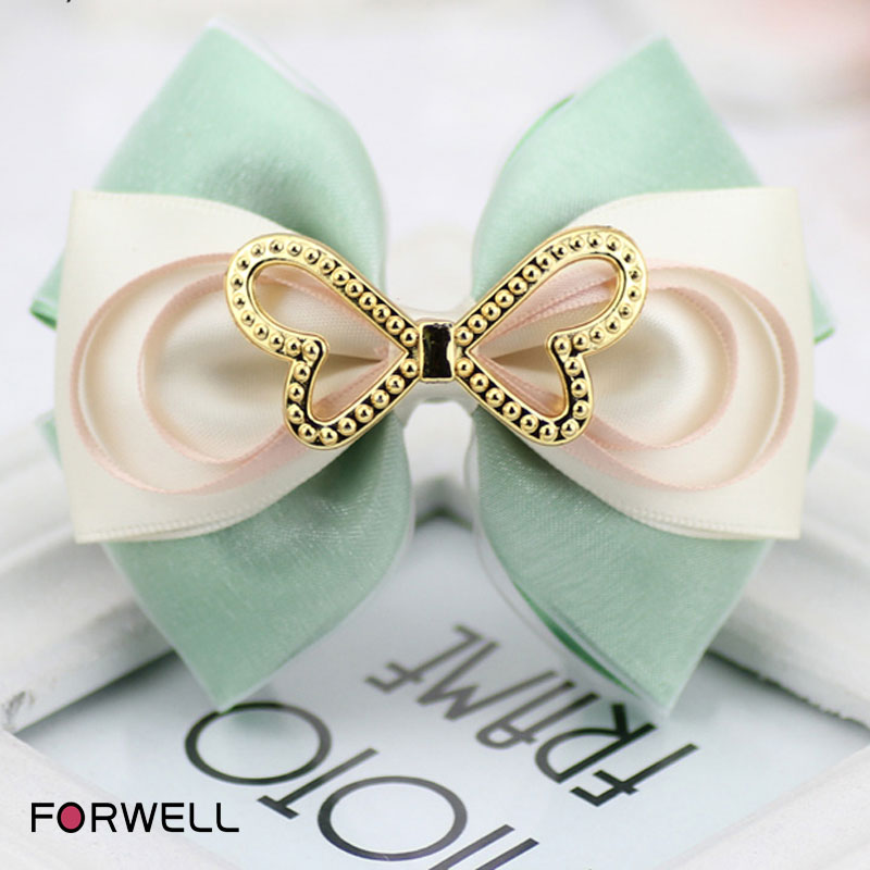 New arrival bow hairpins hair accessories for girls women clips two-double silk yarn headdress 2016 fresh style hair clip hair(China (Mainland))