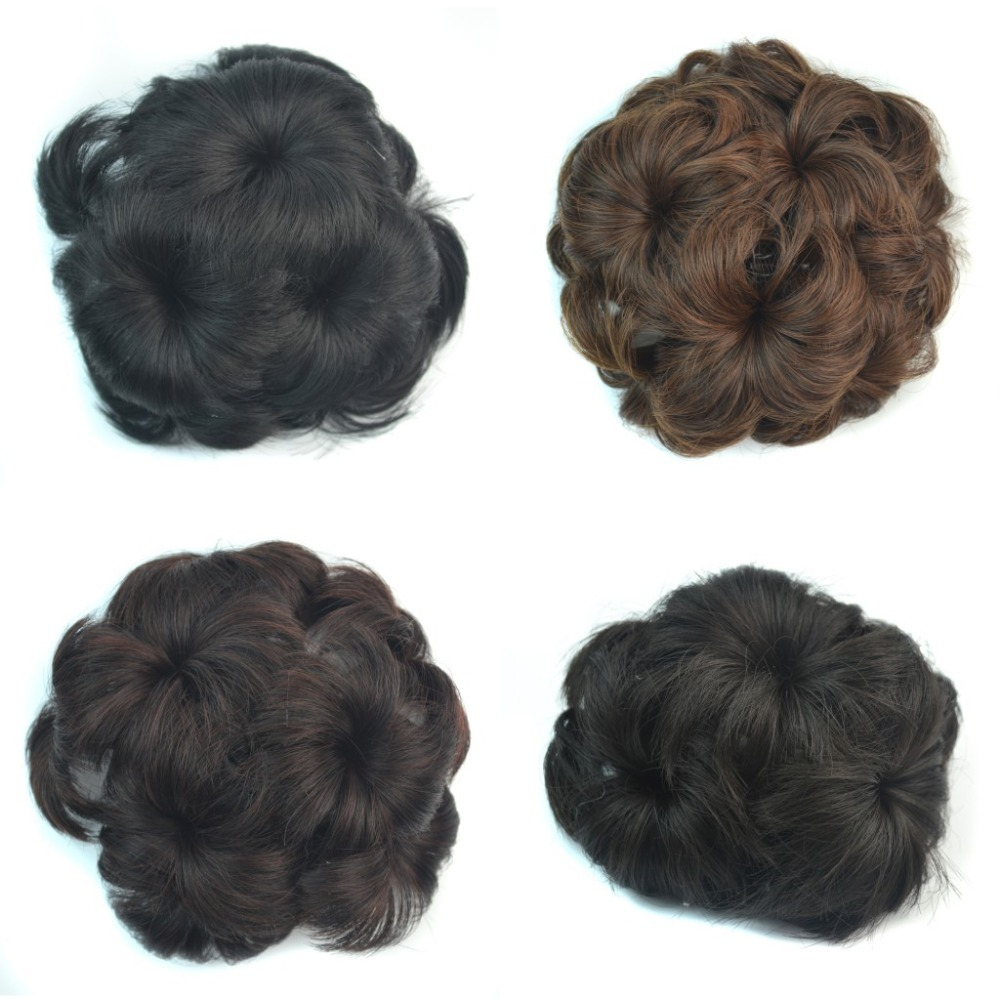 For Lady Woman wavy human curly hair bun Flower chignon with Interposing comb Donut Roller hair pieces hairpiece clip on hair(China (Mainland))