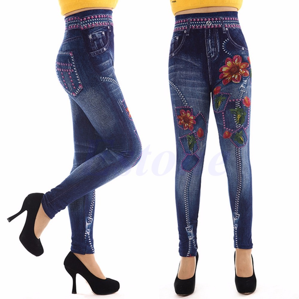 NEW Women Denim Look Jeans Sexy Skinny Leggings Jeggings Stretch Pants Trousers(China (Mainland))