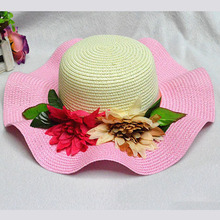 2016 Fashion Women's Foldable Wide Large Brim Ladies'Cap Beach Floral Sun Caps Floppy Straw Hat Summer Hats for Women(China (Mainland))