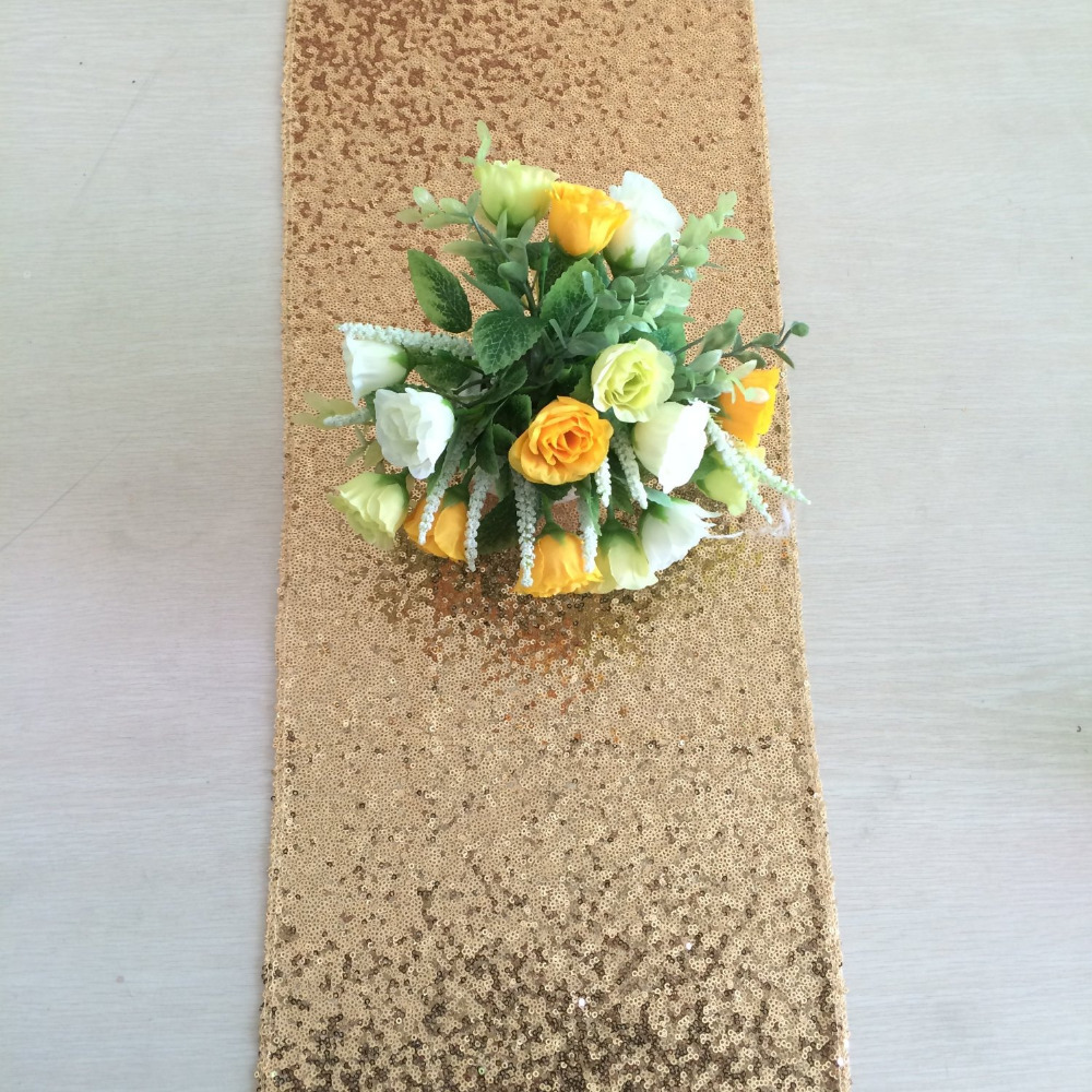 30x240cm Gold SequinTable Runner Sparkly Gold Glitz Sequined Table Linen Glittery Wedding Fit 6ft Banquet Table(China (Mainland))