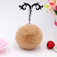 8CM Fluffy Rabbit Fur Bola da Chave de Cadeia de Doces Bonito cores Pompom de Pele de Coelho Artificial Keychain Saco Chave Do Carro Das Mulheres anel(China)