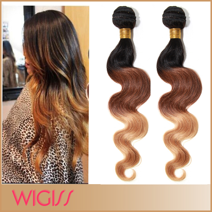 Hot Ombre Color Brazilian Remy Human Hair Weave 3pcs/Lot Body Wavy Weft #1b/33b27 Three Tone Color 12''-30'' Wigiss H6047AZ(China (Mainland))