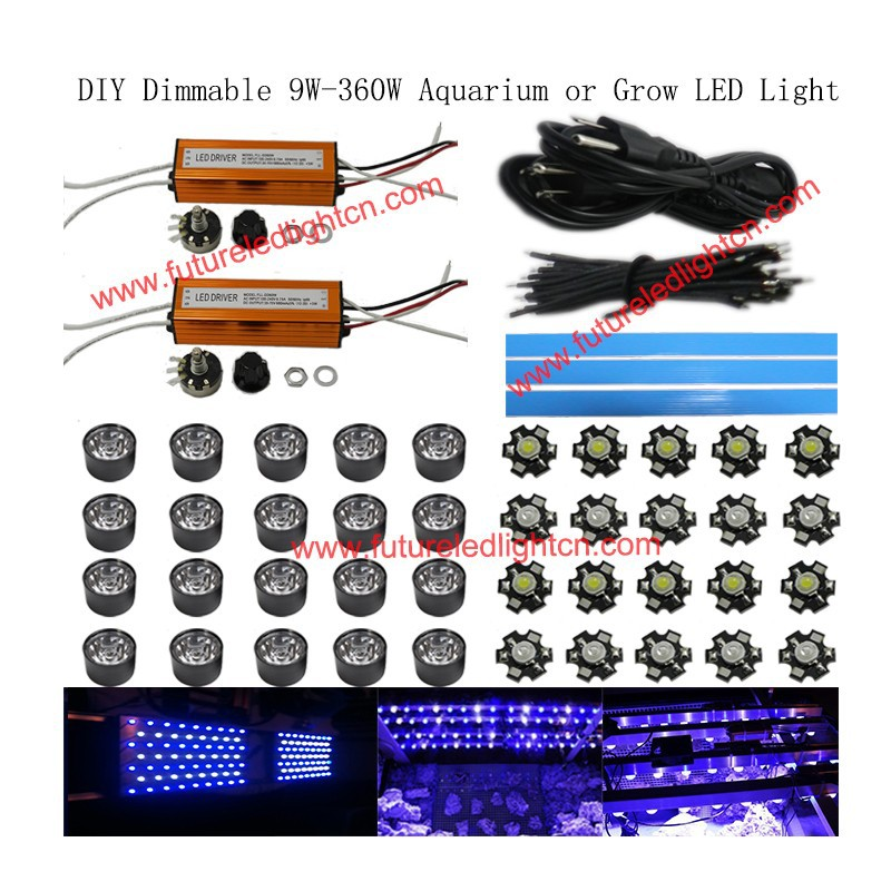 1lot Dimmable 30w led aquarium DIY parts AC 110V 220V 15000k ,royal blue 440-460nm(China (Mainland))