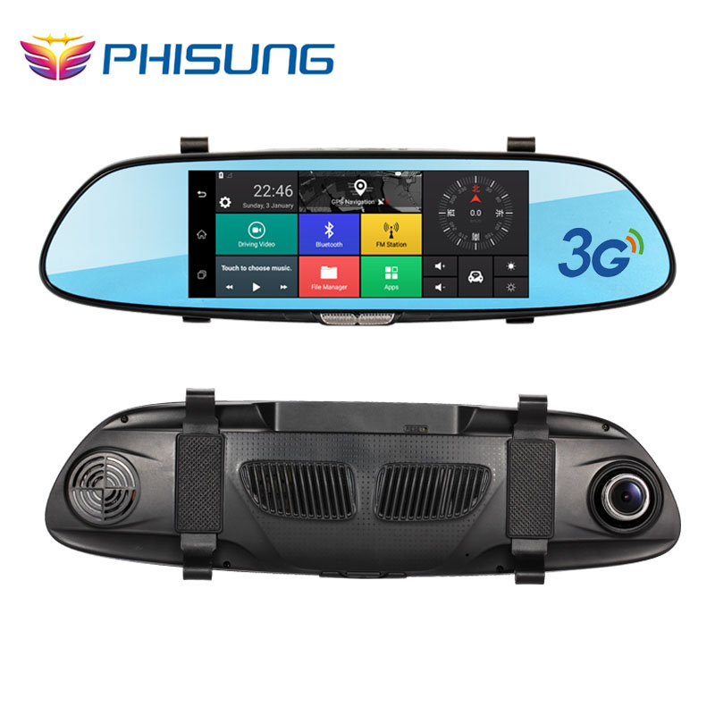 Phisung 7.0in 3G Car DVR video mirror Android GPS FHD 1080P car automobile DVRs Bluetooth WIFI car camera dvr video recorder(China (Mainland))
