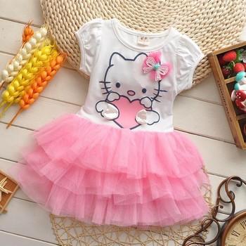 Девочки платье Hello kitty комикс KT крылья пачка платье бант фата дети влюбленность дети в одежда