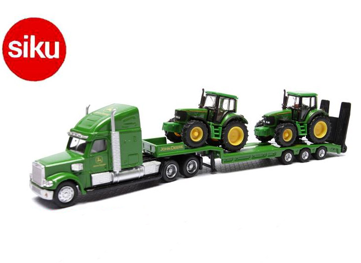 Siku 1837 Low Loader With JohnDeere Tractors flatbed trailer truck (bulk) 1:87 alloy metal model car toy gift collection(China (Mainland))