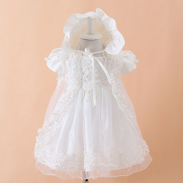 Baby Girls Christening Gown Dresses+Hat+Shawl Vestidos Infantis Princess Wedding Party Lace Dress for Newborn Baptism 3PCS(China (Mainland))