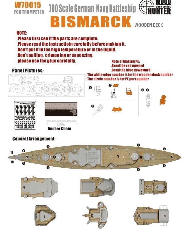 Hunter 1/700 W70015 Wood deck German Battleship Bismarrck for TRUMPETER(China (Mainland))
