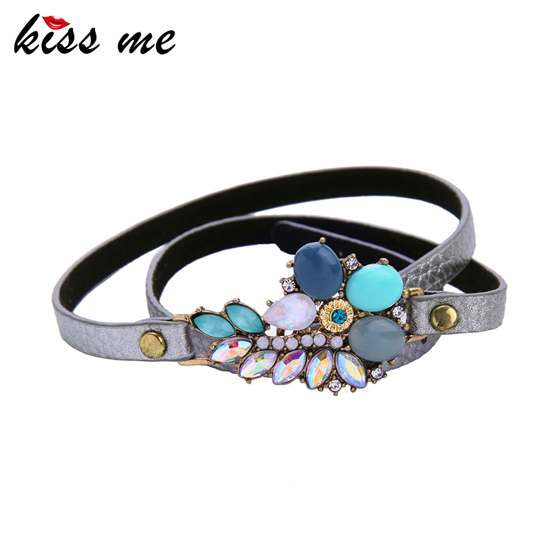 Styles KISS ME Statement Fashion Women Jewelry Elegant Simulated Leather Long Multilayer Bangles & Bracelets - Official Store store
