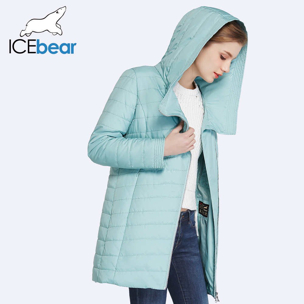 ICEbear 2017 New Spring Collection Autumn Oblique Placket Design Jacket Long Women's Coats With Hood 17G295D(China (Mainland))