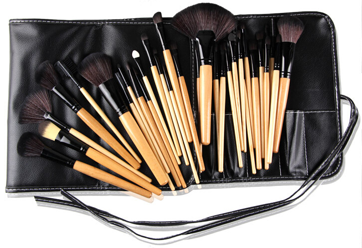 2015 hot sale 32 PCS Makeup brushes Professional Make up Tools goat hair kit of Cosmetic Set Brush+ Black Leather Bag(China (Mainland))