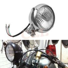 Motorcycle 4 inch Chrome Bates Style Head Light Harley Davidson Bobber Chopper Softail - HCL Trade co..Ltd store