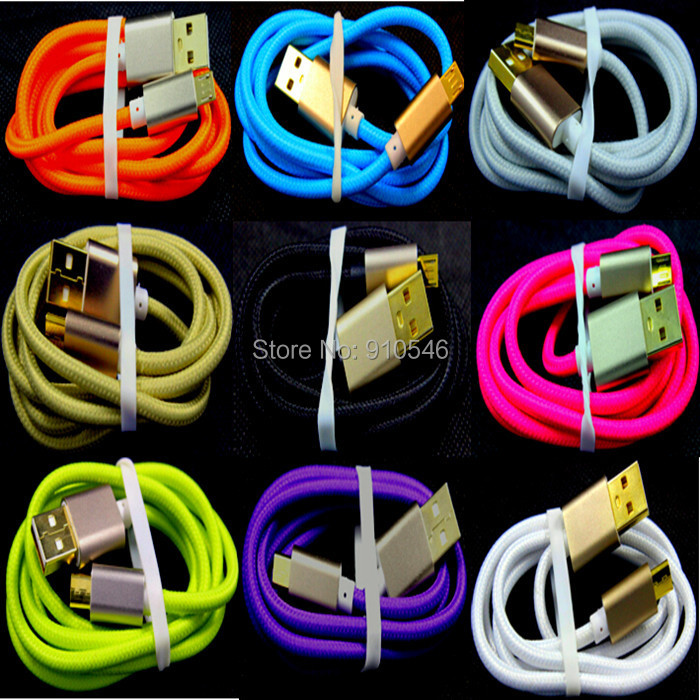 Free shipping 1m, 3FT colorful Aluminium Metal Fabric nylon cloth micro usb cable cord line for samsung s3 s4 blackberry htc(China (Mainland))