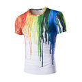 Digital printing 3DT shirt color ink design elements of hip hop style fashion men cultivating short