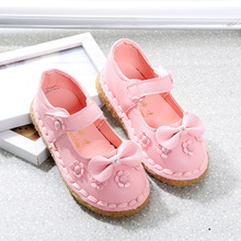 2016 the new children's shoes sweet bowknot girl leather shoes, fashion antiskid soft bottom girls princess leather shoes