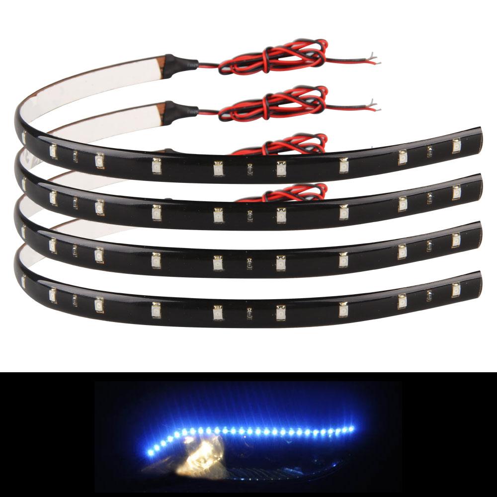 CARCHET Car Styling LED Strip Lights 20PCS 30cm Blue 15 LED Flexible Car Christmas Strip Light Lamp Bulb Waterproof(China (Mainland))