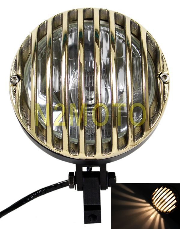6.5 Inch Grille Headlight Motorcycle Brass & Black Crime Prison Scene Choppers For TRI XS650 BOBBER CHOPPER(China (Mainland))