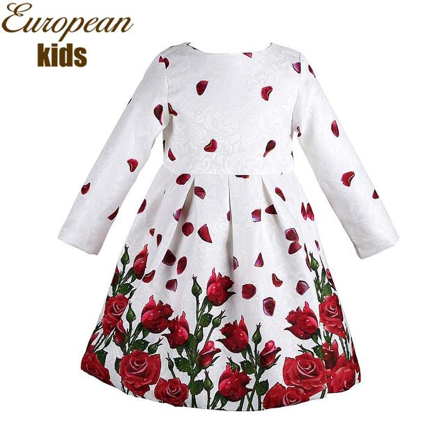Платье ребенка 2016 весенние бренд платье принцессы девушка одеяние Fille Enfant розы печать дети платья для девочек одежда 3-8Y