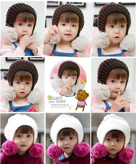 Free shipping cute children's earcuff hat  wool cap with hanging balls Children's knitted hats baby winter caps(7 colors)