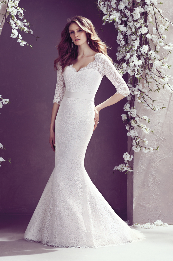 Bride dresses lace v neck sweep train sashes mermaid for Wedding dress no train