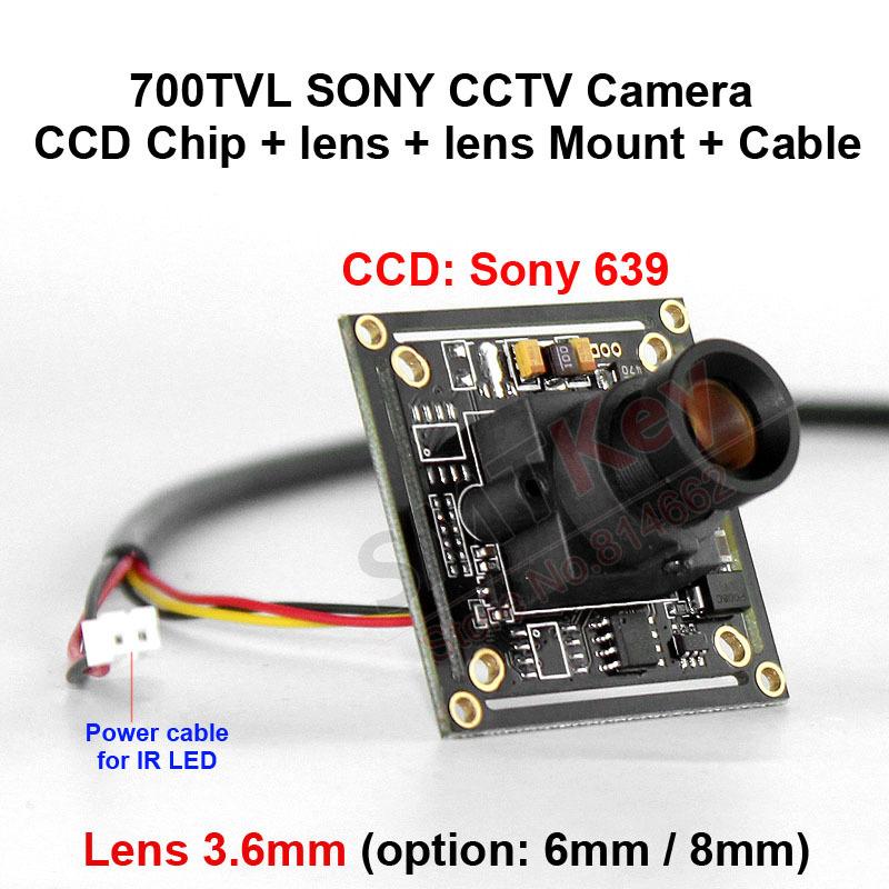 700tvl 1/3 inch sony ccd camera board cctv camera sony chip + lens + Lens mount + cable(China (Mainland))
