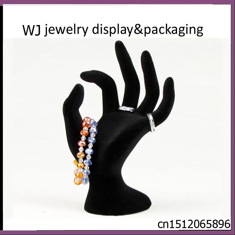 "6.7"" Tall Female Mannequin Free Standing Hand Manekin Ring Bracelet Necklace Jewelry Display Stand Holder Black Velvet OK Finger(China (Mainland))"