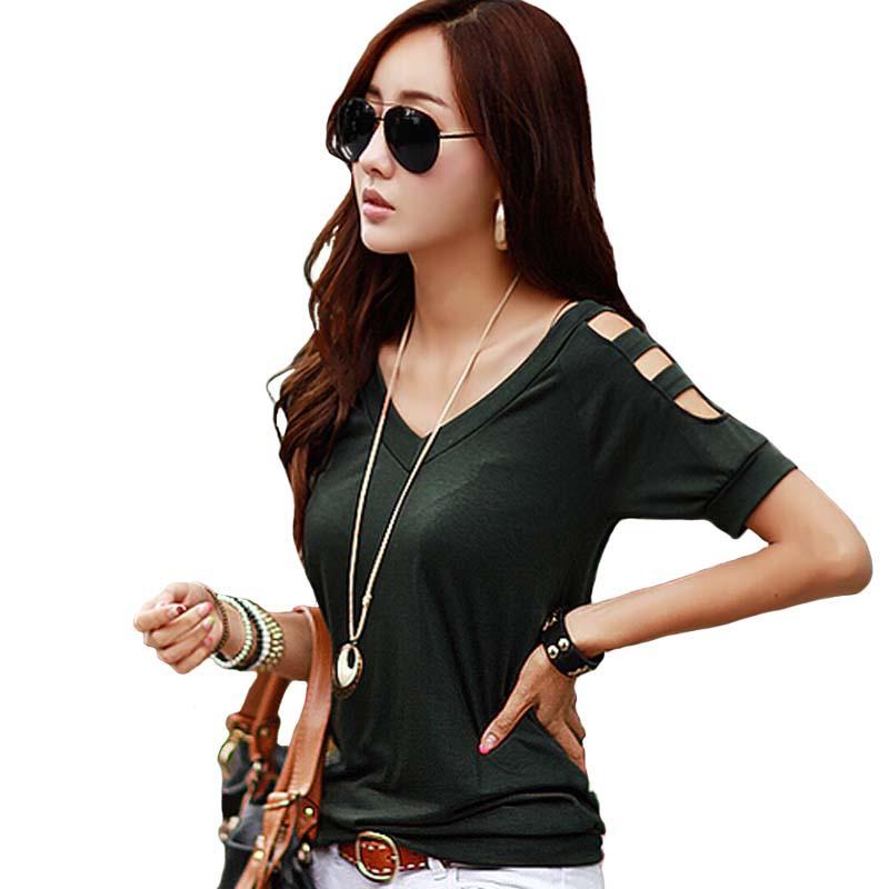 t shirt women tops tees summer Off shoulder t-shirt Cotton tshirt woman clothes poleras de mujer camisetas femininas plus size(China (Mainland))