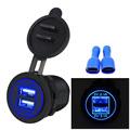 Waterproof Car Charger 12V 24V Universal Dual USB Car Cigarette Lighter LED Digital Display Charging Socket