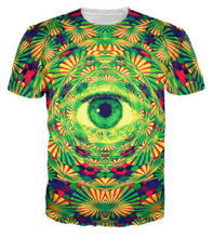 3D печатных психоделический Trippy шаблон приводит к All-Seeing глаз яркий дизайн лето футболка мужчины стиль Harajuku