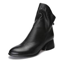 2019 Hakiki Deri Kadın Çizmeler Yuvarlak Ayak Düşük Topuklu Pilili Doğal Cilt Bayan Ayakkabıları yarım çizmeler Siyah Artı Boyutu 41(China)