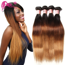 Buy 1B/4/27# Ombre Hair Extensions 7A Peruvian Straight Virgin Hair 4 Piece Peruvian Virgin Hair Straight Ombre Human Hair Weave for $124.95 in AliExpress store