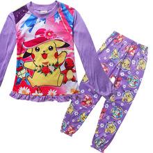 girls Spring Autumn POKE MON GO Pikachu Children girl Pajamas sleepwear nightgown SET 1135 1136 TZ03(China (Mainland))