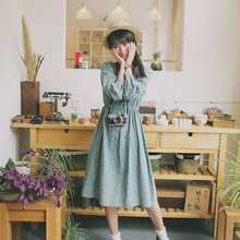 2015 Japanese Mori Girl Forest Lolita Kawaii Vintage Cotton Preppy Ladies Print Bow A-Line Mandarin Collar Brief Casual Dress