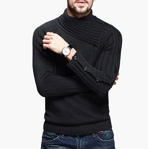 100% Cotton Mens Sweaters Turtleneck Brand Warm Winter Slim Pullover Fashion Sweater Men Fit 2015 Black/Gray - Hailin's Store store