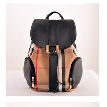S8311 New 2015 fashion British style school bag women nylon backpack plaid Waterproof canvas Travel bag Draw string backpack (China (Mainland))