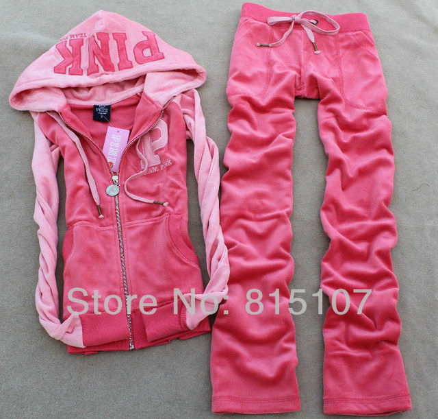 Patchwork Track Suit for women  high Quality Velvet  PINK Tracksuits  sportswear