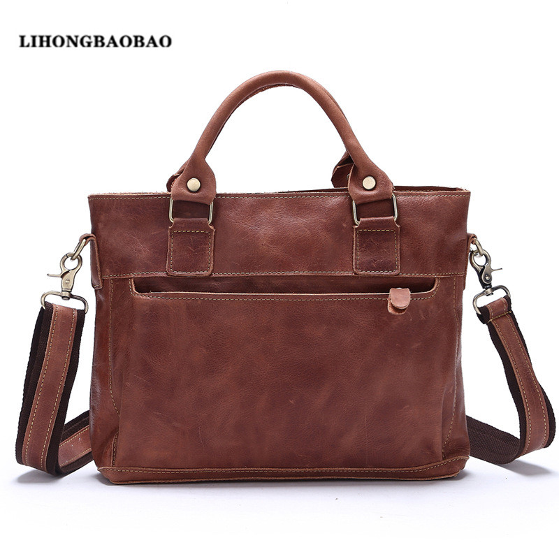Vintage Briefcase Cow Leather Handbags Men Dress Business Bag 13 Inch Laptop Bag Brown Brief Case Male Real Leather sac a main(China (Mainland))
