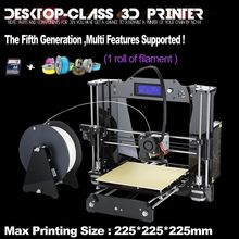 7 Material size 225*225*225mm High Quality Precision Reprap Prusa i3 DIY 3d Printer kit with 1 Roll Filament 8GB SD card and LCD