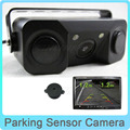 2 in 1 No Drill HD Car CCD Rear View Camera with 2 Parking Sensor Sound