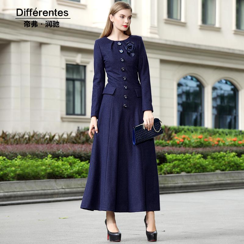 Vintage 2015 autumn Dresses women woolen one-piece dress long-sleeve ol plus size X-long Women's full dress Winter vestido 24