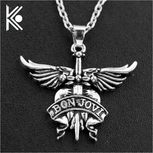 Buy America Bon Jovi rock band necklaces pendants men women white silver alloy long chain pendant necklace birthday gift for $0.99 in AliExpress store