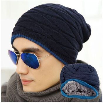 New Winter Hat Men Beanie Sombrero More Add Wool Knitted Cap In The Winter Outdoor Fashion Warm Ear Hat Head Cap Free Shipping(China (Mainland))