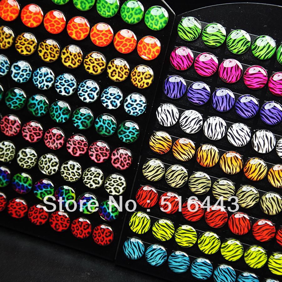 A-428/447 28Enamel Leopard Zebra Pattern Stainless steel Women Mens Stud Earrings Fashion Jewelry - Edna store