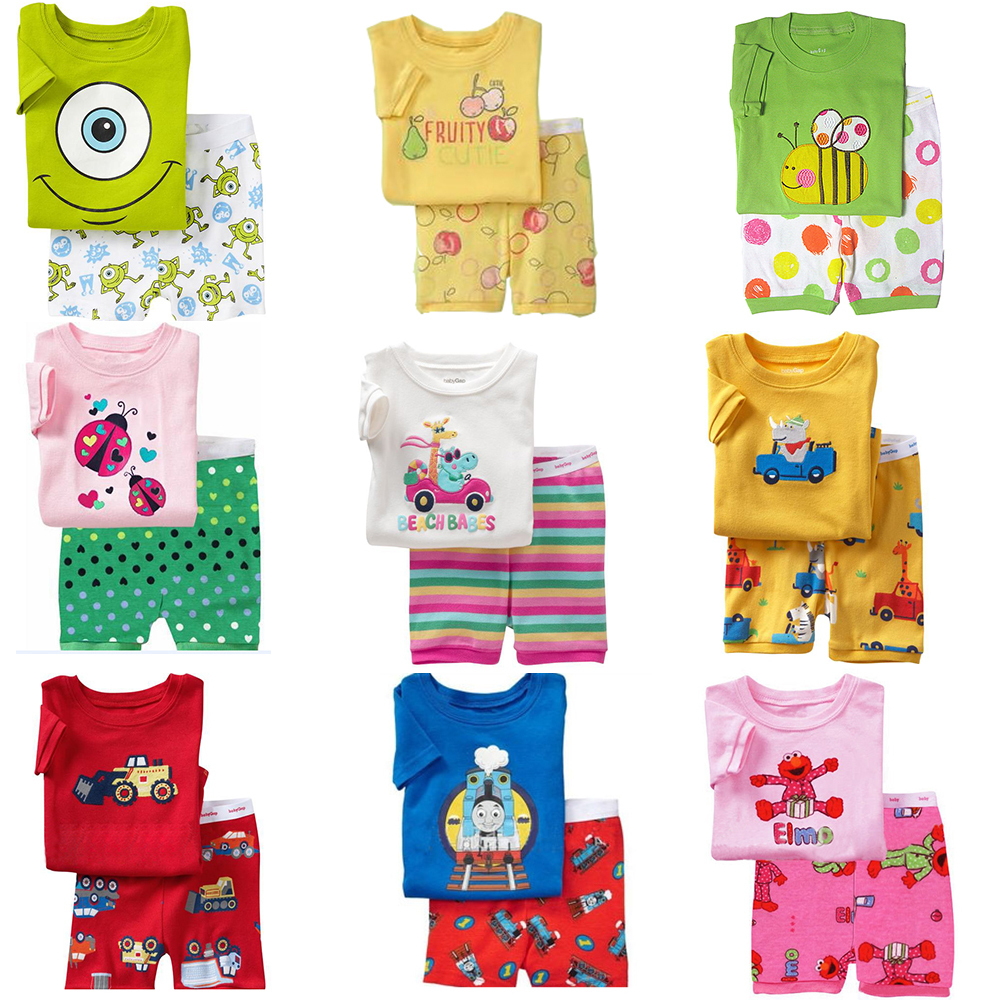 2015 Summer Kids Pajamas Sets Baby Boys Girls Sleepwear Short Sleeve Pijamas Cotton Costume Children Nightdress