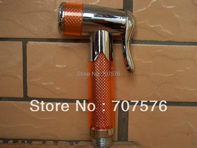 Free Shipping  Bathroom Plastic Handheld Bidet Shower Head Toilet ABS Portable bidet Shattaf Sprayer Nozzle TS158-5 orange