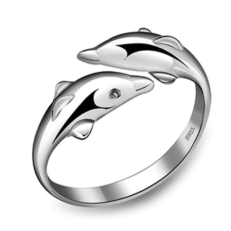 Гаджет  fashion 925 Sterling Silver Double Dolphin Ring Opening Adjustable Silver Plated Rings for girl Charm Jewelry Valentine
