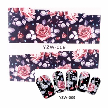WUF 1 Sheet Water Decals Transfer Stickers Nail Art Stickers Charm DIY Chic Flower Designs Fashion Accessories 009