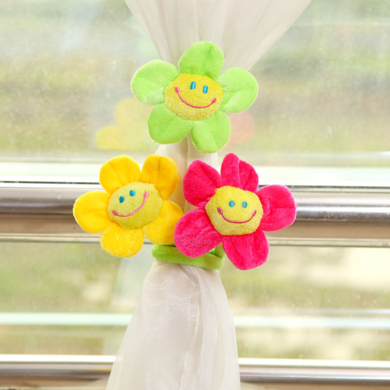 Multi-color Smiley Sun Flowers Pattern Curtain Soft Buckle Flannelet Cartoon Kid's Room Curtain Bandage Home Decoration Tieback(China (Mainland))